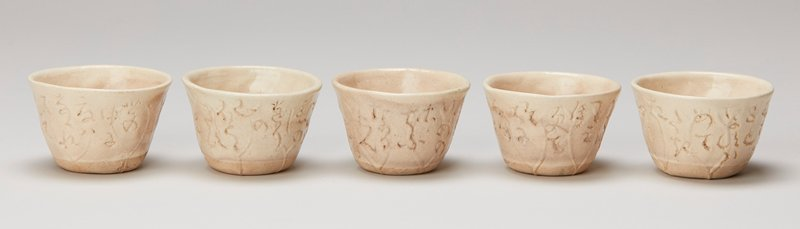 white clay stoneware cups in lotus leaf shape each with signed and inscribed poem made for sencha in box signed by artist.