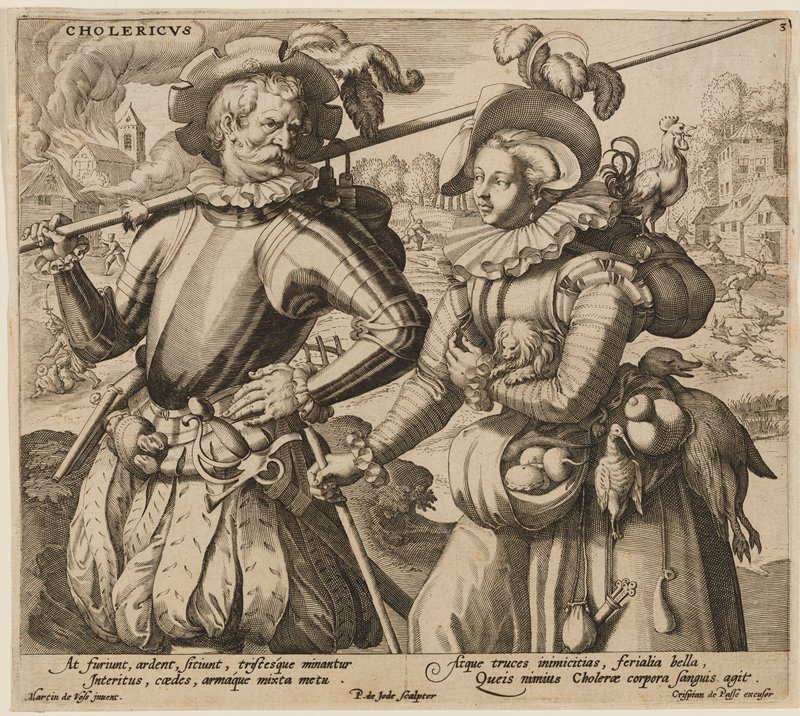 elaborately-dressed couple, with man at left wearing sleeves and breastplate of armor, with a long sword at his hip and carrying a handled pot on a long staff over his PR shoulder; woman at right carries a tiny lion-faced dog (or monkey?) in the crook of her PL arm, with a rooster on the bundle on her upper back and two dead birds tied to her belt; woman carries turnips in a small apron pouch on her abdomen; landscape in background with burning buildings in ULC, figure attacking another with a sword, man chasing a flock of geese with a sword and a reaper; text at bottom below image