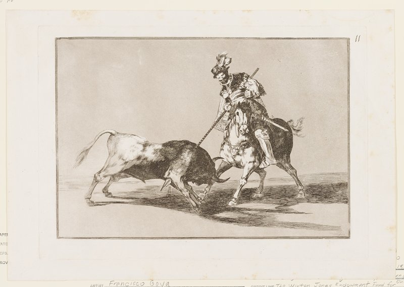 bull at left being speared through its upper back and PR shoulder by a man on horseback at right, wearing a costume with cape and feathered hat and carrying a sword on his PL hip; grey ground