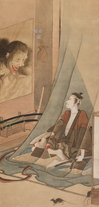 a seated man sharpens a sword and looks up toward a ghostly, disembodied head peering through a window; the ghost figure has bloodshot eyes and a menacing, wide-open grin; two rats scamper around in the lower right corner near the base of a lantern