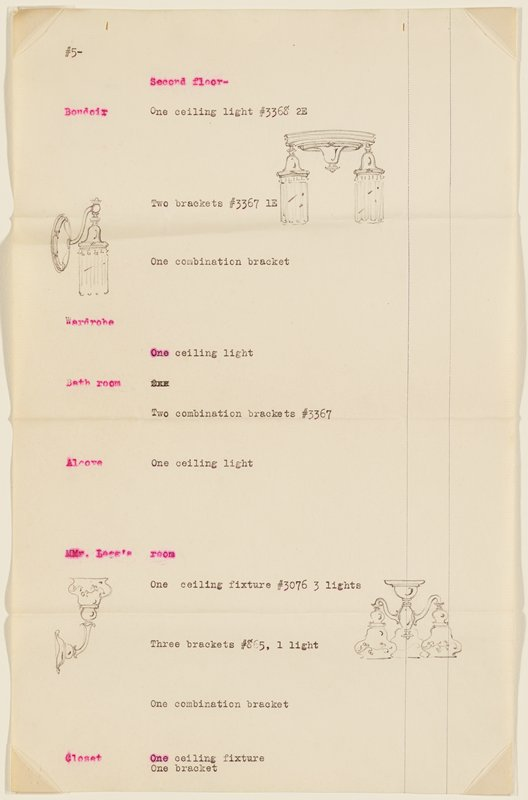 Page 5 of proposal for lighting fixtures for the residence of H.F. Legg, Minneapolis, by John S. Bradstreet & Co., Minneapolis.Typewritten descriptions and numbers and graphite drawings of lighting fixtures.