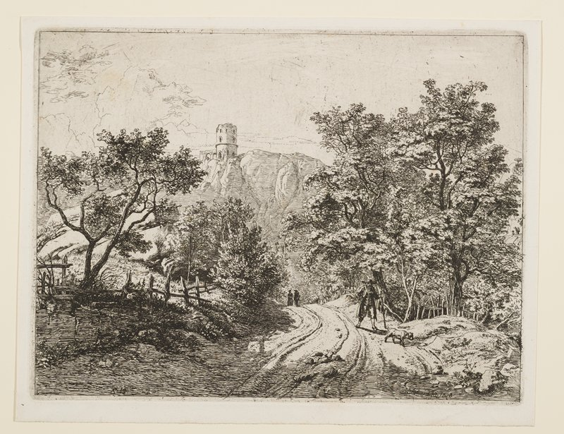 landscape with man and dog walking on cart path in foreground, with trees and ruined fences on either side of path; two silhouetted figures on path in middle ground; rather small castle on top of rugged mountain in background