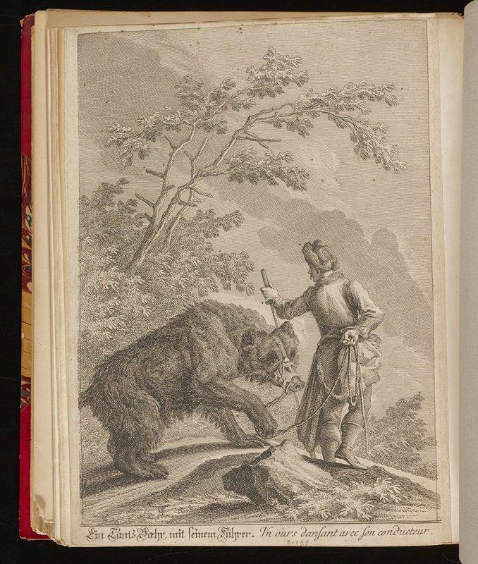 man leading a dancing bear through a landscape