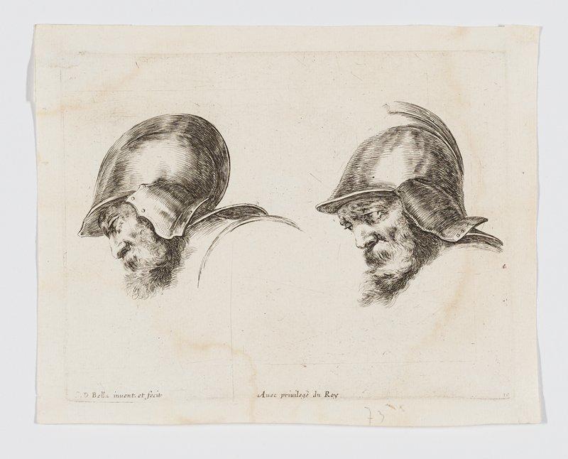 two studies of heads of bearded soldiers wearing helmets