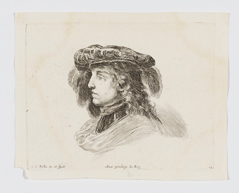 head of a young man with long hair wearing a flat hat with feathers, in profile from PL
