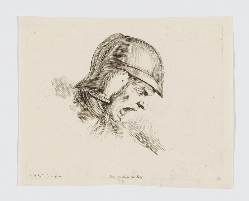 head of a soldier yelling, with his mouth open wide, wearing a helmet, seen in profile from PR