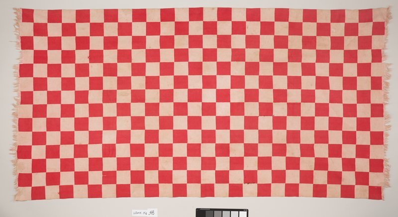 red and white checkered panel; short ends of panel are fringed with white thread