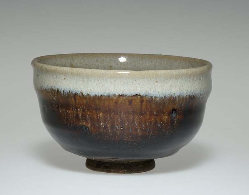 Tea Bowl dark brown glaze; white rim