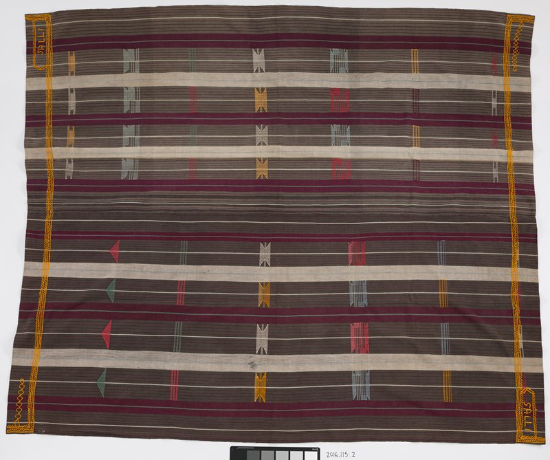 woven cotton panel with gray, purple and light blue stripes; embroidered red, yellow, white and blue geometric shapes alternate across panes; two end have gold embroidery lining ends; two of the opposite corners have the word 'SALLI' embroidered in capital letters