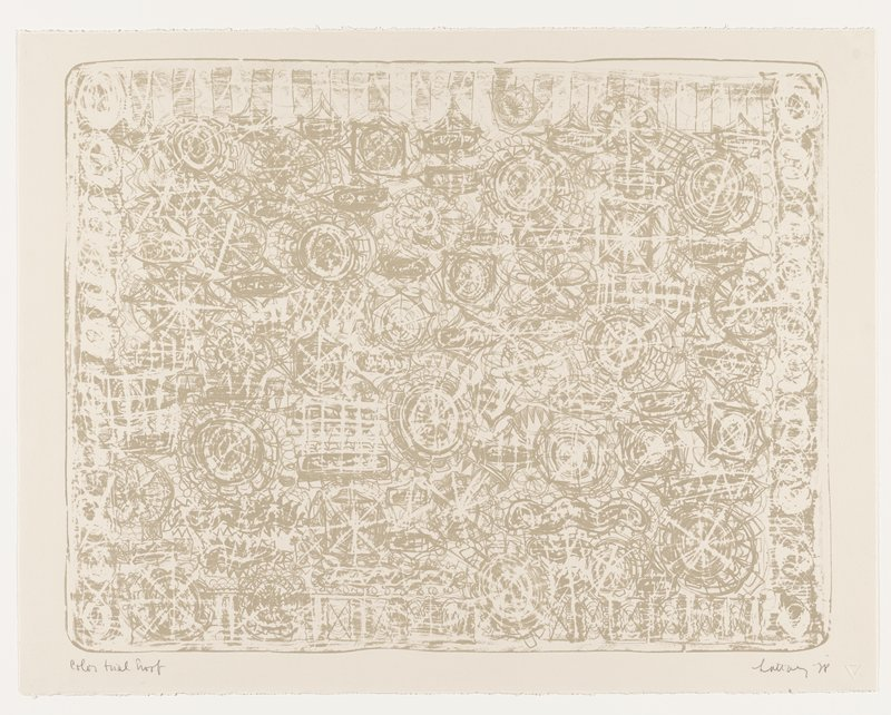 printed in tan on cream-colored paper; heavily-worked abstract image with round starburst-like designs, floral motifs, wavy horizontal forms; repeating bars across top