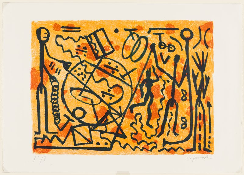 abstract image; printed in three colors--light orange, dark orange, black; light orange ground with scattered dark orange biomorphic forms; linear elements in black on top--stick figures and geometric shapes