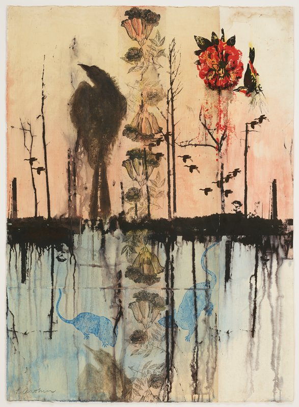 three separate pieces of paper jointed together; slightly abstracted outdoor scene with horizon line near center of image; pinkish sky at horizon line; vertical bare stems; silhouettes of flying birds; large perched black bird silhouette at left; vertical row of flowers at center; red flower in URC with red and black bird; blue water at bottom with reflections of stems; two blue rodent silhouettes