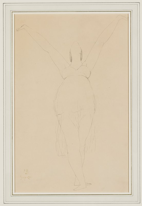 simplified line drawing of standing woman with her head lifted up (facial features not visible--only underside of woman's chin), arms upraised in a V with palms upward, and legs crossed with feet in ballet fourth position; woman wears a short skirt with longer sheer skirt