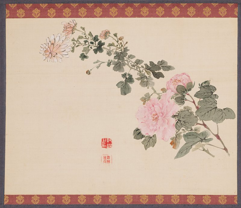 Japanese hanging scroll depicting a painting of a chrysanthemum behind a pink peony; two calligraphy stamps in red located in lower central half of painting; top and bottom of painting lined with mauve fabric with ornamental floral gold embroidery; two strips of fabric hang vertically at the top in same mauve and gold fabric; two band of peach fabric line top and bottom of scroll; blue periwinkle band of fabric in center in which painting is mounted