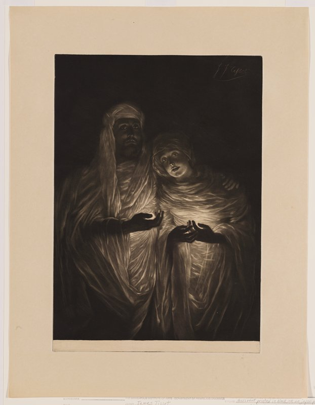 man and woman dressed in white draping garments and head coverings, holding glowing orbs in their hands; bearded man has his PL arm around woman's shoulders; black ground