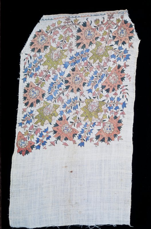 Towel-scarf, end of ; loosely woven linen embroidered with sprays of large spikey pink and green flowers with stems worked in tinsel thread. Linen.