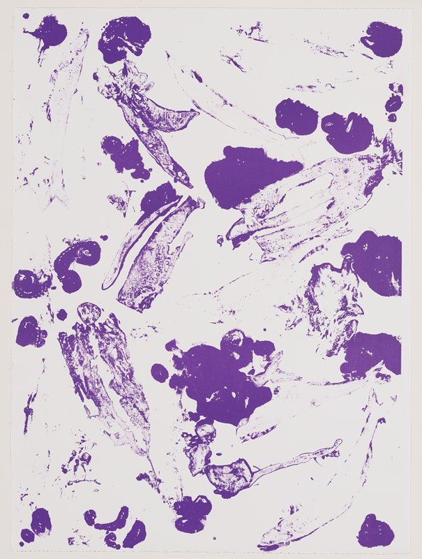 purple spots and smears on white; fish-like form in LRC