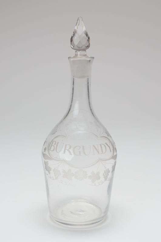 Decanter and stopper, etched glass, English, XVIIIc.; Holiday Traditions, Charleston Drawing Room