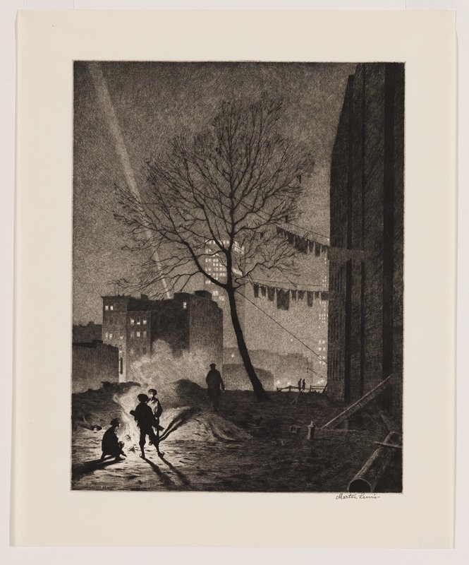 bare tree at center; clotheslines with clothes hanging at right; boys in LLC around a fire; city skyscrapers in background with searchlight, URQ