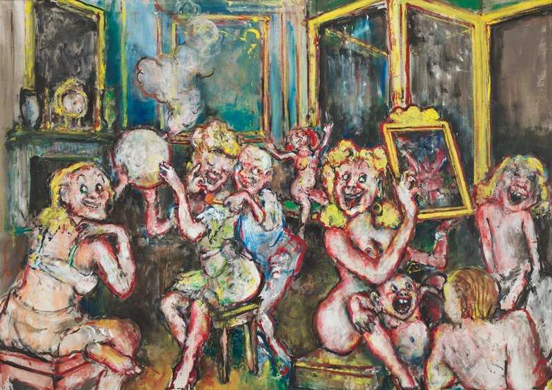 raucous parlor scene; two women seated at table holding a glass object with smoke, the woman at L is in her underwear, and the woman at R, in a green dress, is being fondled by a man in blue near C; nude woman seated on a chair near C throwing hands above head; nude woman holding a mirror at R among other, younger, nude figures; yellow-framed screen open URQ
