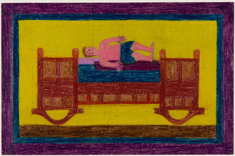 primitive style; stiff-looking small pink figure with brown hair wearing a blue loincloth-type garment lying on lavender, purple and blue horizontal elements on top of a red and brown stylized cradle; yellow ground with blue, purple and brown borders