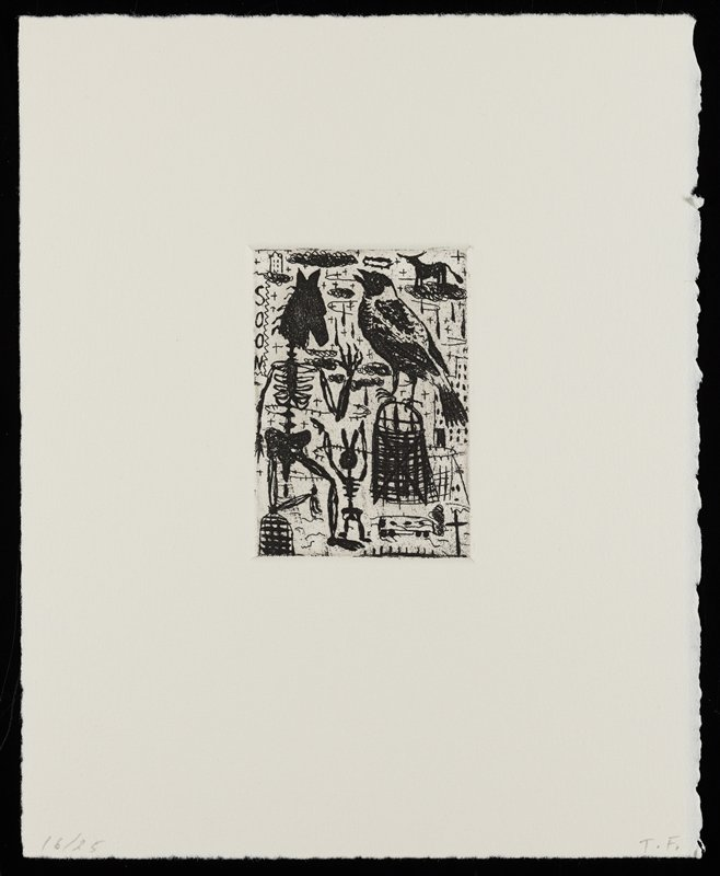 """various imagery; dog at center with a crown suspended over its head; insect at bottom center; bus at LLC; """"LOST"""" with backwards S in LRC; silhouette of horse's head, URC; silhouette of a trumpet at top center; elongated standing man with white shirt, black pants, black bow tie and black hat along left edge"""