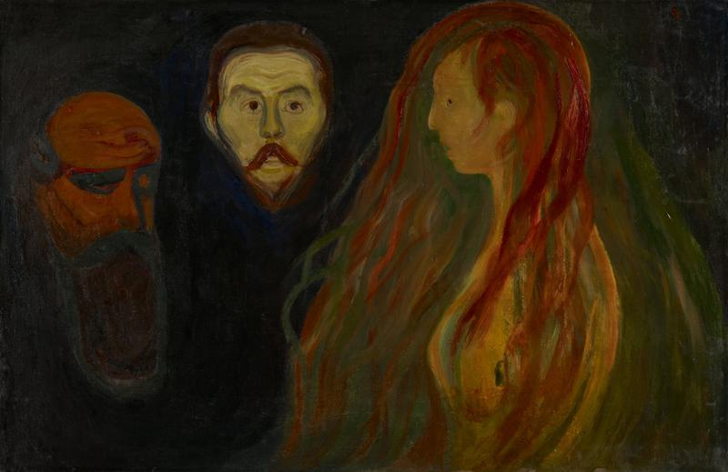 - Three faces, two men and a woman, seen from three different angles, all simplified and charged with emotional connotations. - Central face, and the woman to the right are (said to be) Munch's friend, the Polish writer Przybyszewski and his wife Dagny who had previously been in love with Munch. Bearded face at left a symbol of man's dejection, as the woman's long hair is a symbol of man's sexual entrapment. -Absence of setting - - the three faces seem to float in space - - may be a symbol of man's alienation and isolation throughout his life. Style: - Great simplification of forms and sweeping curvilinear lines characteristic of Munch's work. - Search for means of expressing inner feelings on psychic rather than literary terms. - Dark background and startling color combinations enhance mood of emotional conflict and tension.