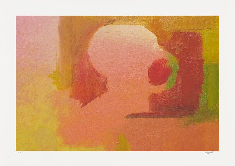 abstract image; green, gold, red, pink and orange pigments overlapping; red circular shape in center right surrounded by gold and red 'archway' shape
