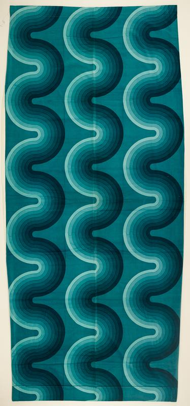 large-scale pattern with three wide vertical serpentine bands, each with eight narrower bands of gradations of teal on medium teal ground