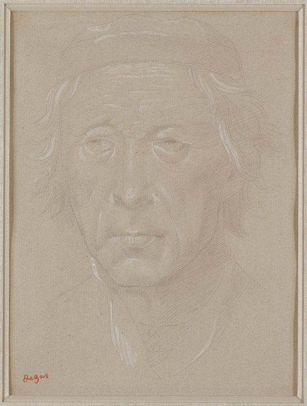 sketch of an elderly man's face and shoulders in pencil with white highlighting; man has wavy hair, is wearing a short cap, and is looking pensively to PR; framed