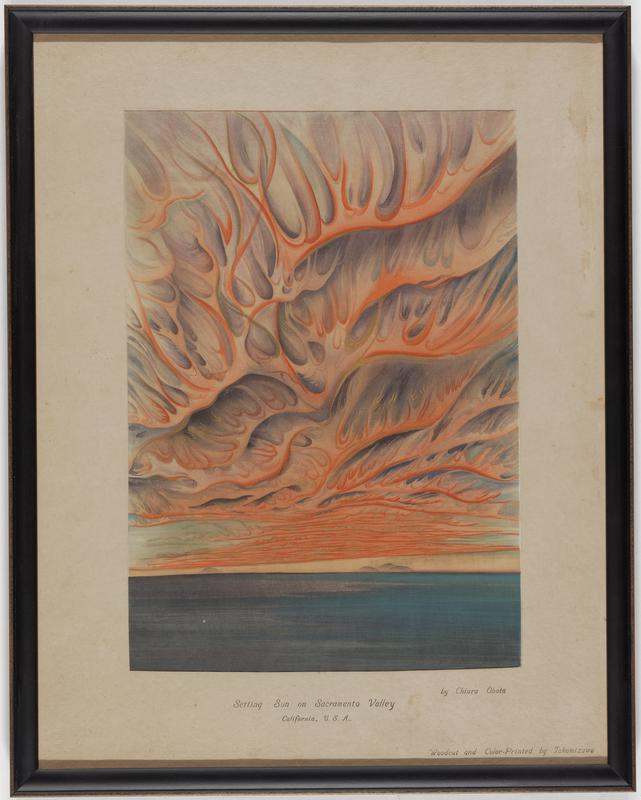 pronounced fiery sky with bright orange flames shooting upwards; dark blue still body of water across lower portion; tiny mounds in distance on horizon line