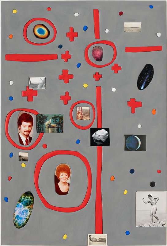 two dimensional object with a mixture of photographs and collage-like elements; surface is slightly raised with photographs and shapes imbedded like puzzle pieces; gray textured backing; series of red plus signs dispersed across upper half; two horizontal red lines-one in upper left quadrant and one in upper right quadrant; red vertical line on upper middle right side, and runs downward to bottom, intersecting with a small square-shaped black and with photograph of a cratered rock; five red circles with photographs of space, portraits and life scenes placed in middle of circle; other photographs of life scenes and space dispersed across surface; various colored dots in orange, blue, red, black and white decorate background