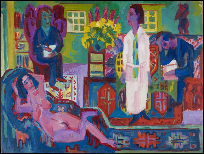 German Expressionism. Genre. Figures in an interior of a house; (nude) human figure - female
