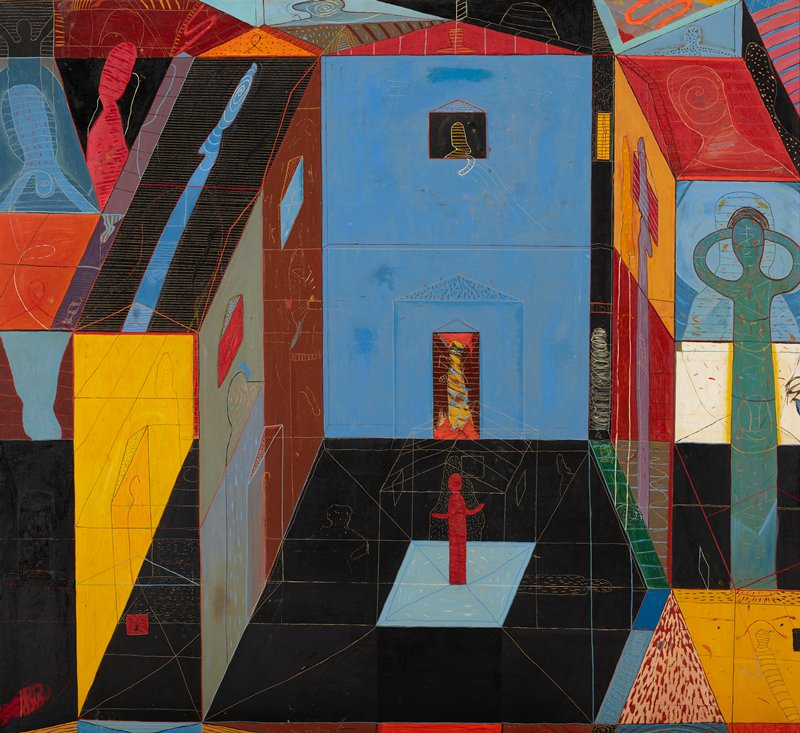 abstracted architectural interior image with bold color blocks in black, yellow, red, blue, and images scratched into pigment; abstracted humanlike figures scratched into wet pigment along the abstract columns at L and R edges; red humanlike figure inside line drawing of building near C