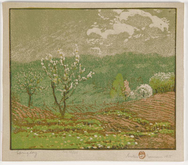 landscape with two trees at left with white blossoms; trees in middle ground at right; green plants in foreground; brown fields in middle ground; green hills in background; green-grey sky; received mounted to foamcore board