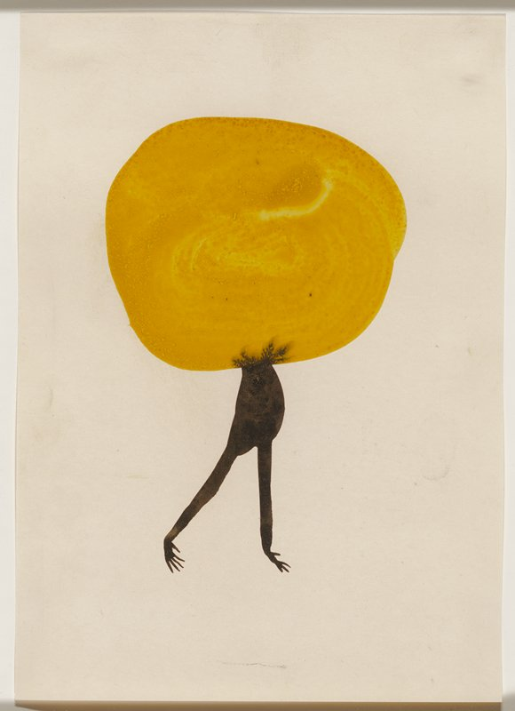 abstract image; painterly yellow circle with black torso-like form with arms and delicate hands extending downward