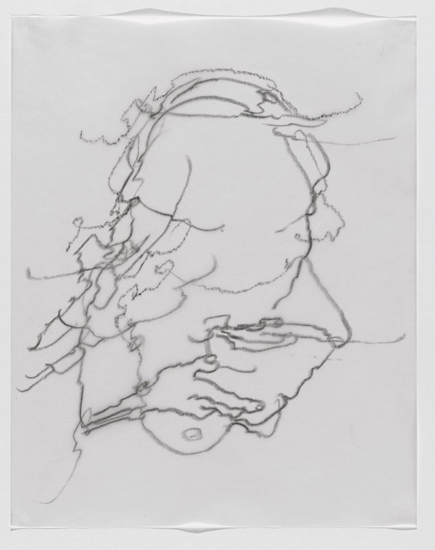 highly abstracted squiggly black line drawing of roundish form with hand-like shape at LL