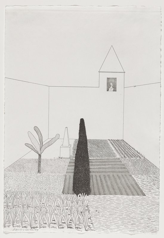 black and white etching of a court yard; varieties of foliage grouped into squared off sections; small tree with four leaves/ branches in middle left edge; dark textured conical shape in center; small window and peaked tower in ULQ; woman gazing out the window into the courtyard
