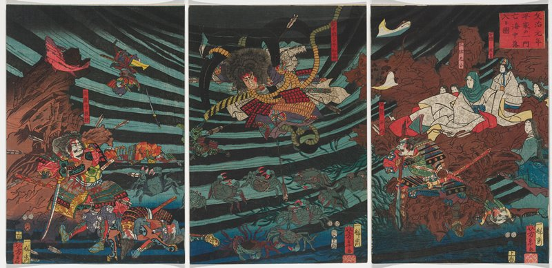 three separate sheets; saturated color; underwater scene; figure at L riddled with arrows and blood standing in front of large brown rock, wielding sword; figure at C sinking in water, with arrows in body, sinking toward crabs at bottom; family in robes at R seated on rock, looking on; figure in foreground with swords, bloody, charging to L