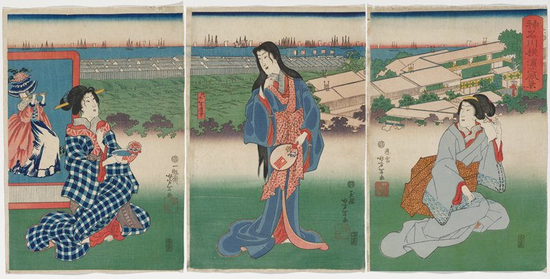 unattached triptych; three female figures in grass in foreground; woman at L wears blue and white checked kimono, holding a bowl and facing R; panel with woman in Western dress playing flute behind her; C woman looks at first woman, holding a fan; woman at far R plays with her hair decoration; rooftops, buildings, harbor with boats in distant background