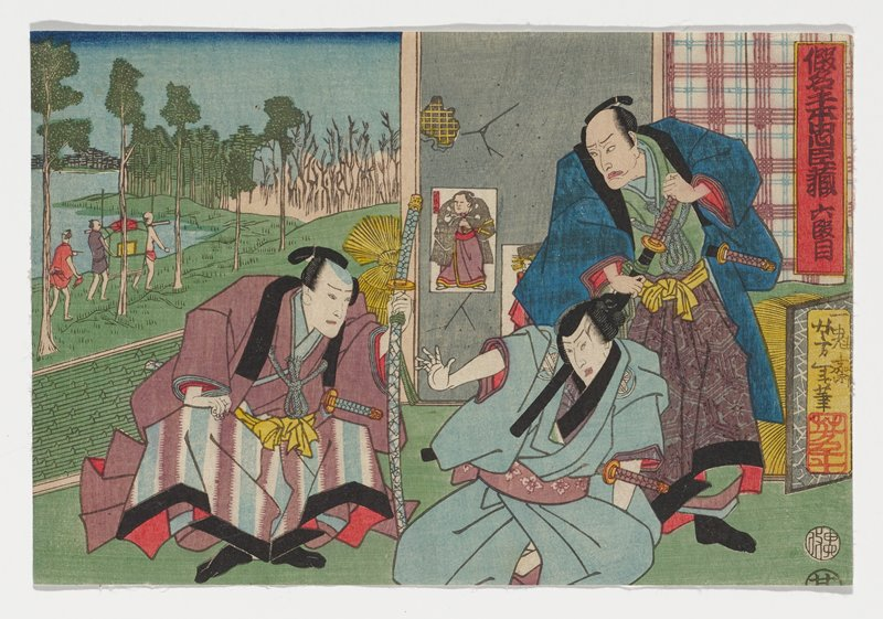 seated man in LRQ, wearing blue, with his PR arm outstretched, pulling backward with his body; man in blue with purple medallion patterned skirt standing behind first man, scowling, with both hands on his sheathed sword; another seated man wearing purple garment with purple, light blue and white striped skirt and black trim, leaning forward, in LL; landscape view with trees, water and figures in ULQ