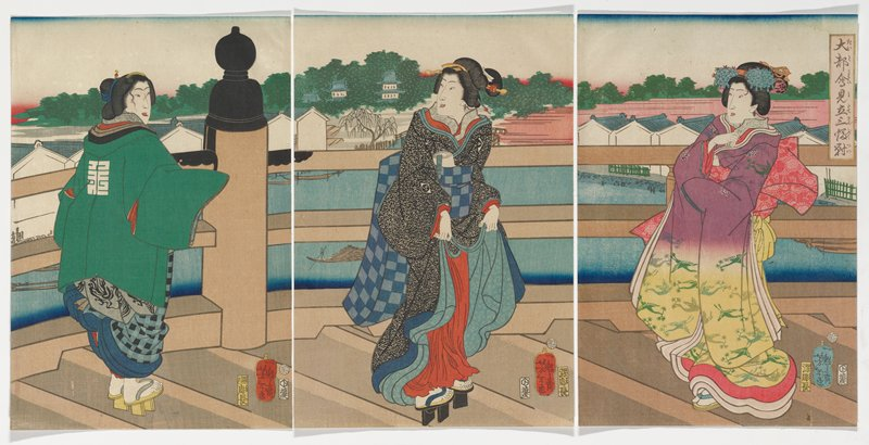 unattached triptych: three female figures in colorful clothing standing on a bridge over bay with buildings in background; woman at L wears green coat over blue kimono, and is facing R; C woman in black kimono with gray flowers, red skirts; R figure has purple and yellow kimono with green crane motif