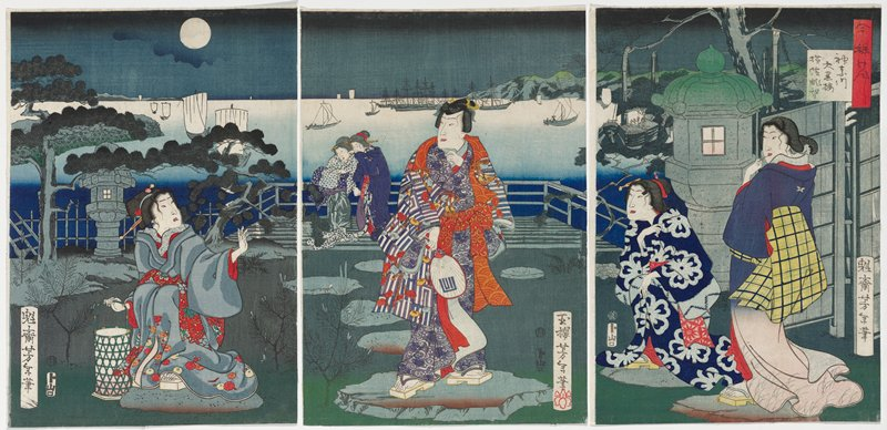 three separate sheets; distressed-looking crouching woman at left, wearing grey kimono with orange and yellow flowers along them hem and red flowered obi, holding a green bamboo lantern; standing man at center wearing a kimono with blue, purple and white striped and patterned sleeves and blue body with swirl patterns and orange obi, holding a fan in his PR hand with blue geometric pattern; two women at right--crouching woman wearing dark blue kimono with light blue flowers and standing woman wearing blue kimono fading to pink at hem, and yellow obit with blue and green checks; two other women in background behind man, to his PR; seascape beyond with boats on water and night sky with moon