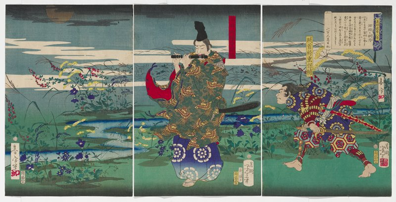three separate sheets; landscape with purple, red and yellow flowers around a stream; man wearing black cap and kimono with gold birds on tan and green ground, playing a black flute, at center; crouching man at right holding a sword, wearing a purple kimono with yellow and blue flowers