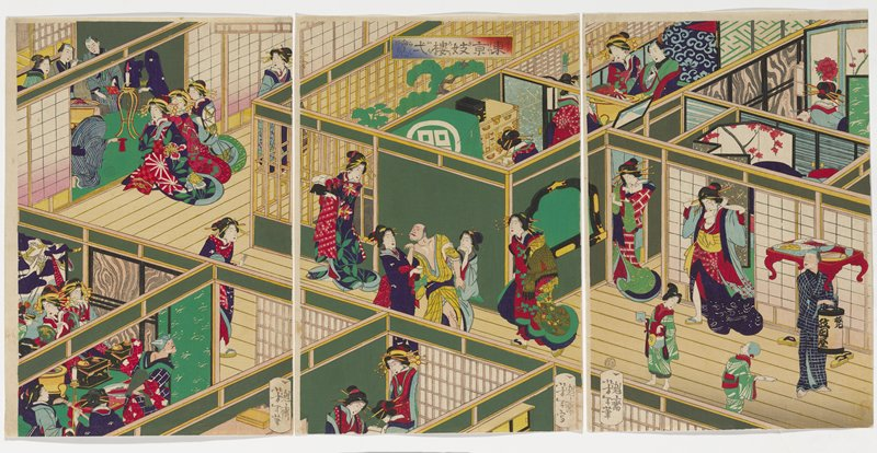 three separate sheets; overhead roofless view of a large building with many rooms; group of men and women dining with woman playing shamisen in LLC; another group of dingers in ULC with three women in elaborate colorful kimonos; man in yellow checked kimono at center accompanied by two women; male servant in blue checked kimono at right with a lantern and a low table with plates of food; two women and a man dining at top center