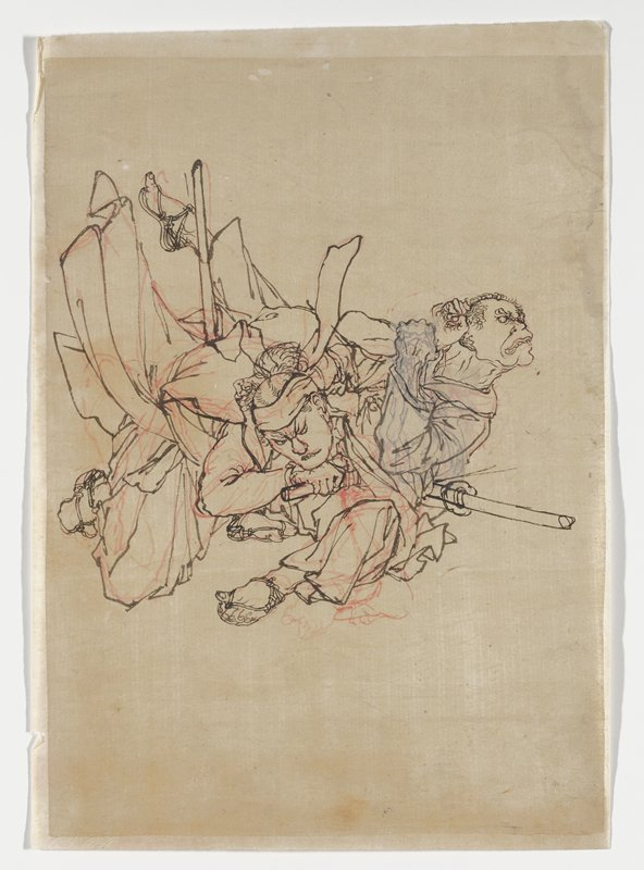 ink drawing in black and red; two men fighting; man at left falls forward, grabbing the hair of man at left, who is falling backward; attached to off white mount sheet