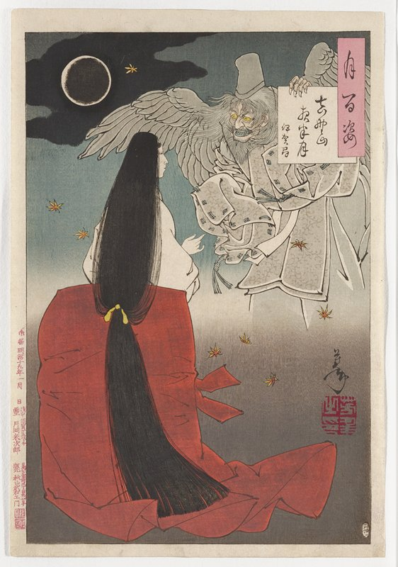 one sheet; standing woman seen from back with head turned in profile to PR, wearing white blouse and red-orange skirt, with very long hair tied with yellow cord; flying demon with grey wings, grey hat, grey beard and hair and blue lips in URC, wearing grey flowered garment; some flying autumn leaves; ring of moon, ULC