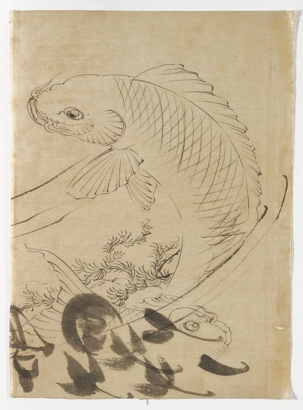 jumping fish, in a backwards C shape; sea foliage above and behind tail; broad brushstrokes at bottom; unsigned