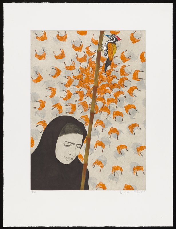 head and shoulders of a woman wearing a black hijab in LRC, looking down, with a bamboo staff in front of her PL shoulder; woodpecker at top of staff; radiating pattern of grey police helmets and orange patterned scarves with black tassels in background