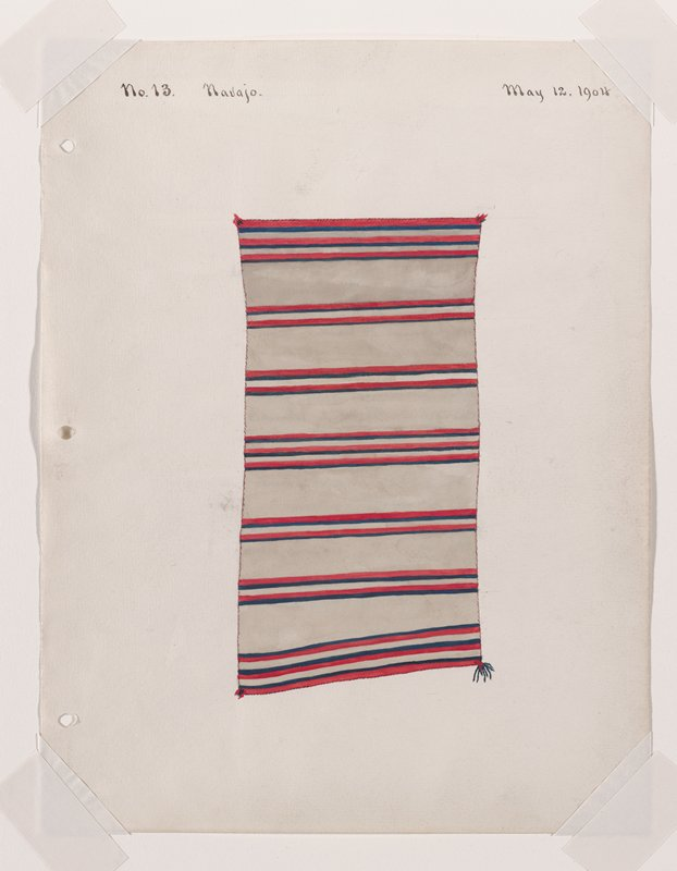 depiction of white textile with red and blue horizontal bands; larger blue, red tassels; LRC is askew